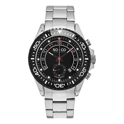 SO & CO Ny Men'S Yacht Club Black Dial Stainless Steel Bracelet Chronograph Sport Quartz Watch J153P41