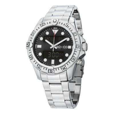 SO & CO Ny Men'S Yacht Club Stainless Steel Bracelet Digital Luminous Dial Sport Quartz Watch J152P91