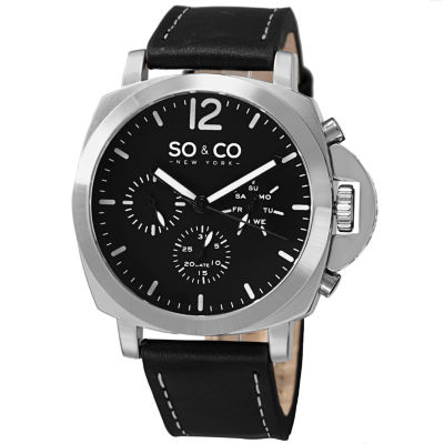 SO & CO NY Mens Soho Black Leather With White Stitching Strap Casual Quartz Watch J153P48