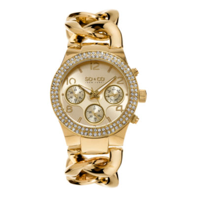 SO & CO NY Womens Soho Gold-Tone Stainless Steel Bracelet Crystal Studded Bezel Dress Quartz Watch J155P13