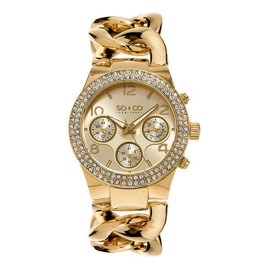 SO & CO NY Womens Soho Gold-Tone Stainless Steel Bracelet Crystal Studded Bezel Dress Quartz Watch J155P13