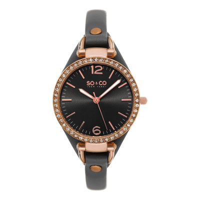 SO & CO NY Womens Soho Leather Casual Quartz Gold Tone Watch J155P31