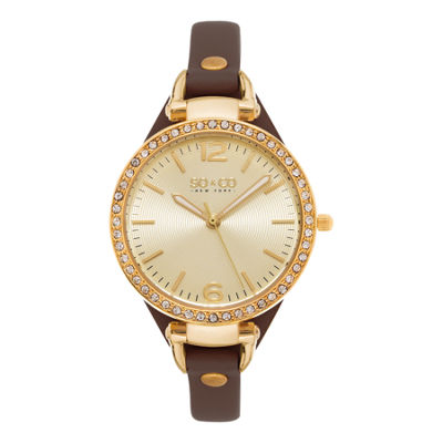 SO & CO NY Womens Soho Ultra Thin Genuine Leather Strap With Gold-Tone Dial & Crystal Filled Bezel Quartz Watch J155P32