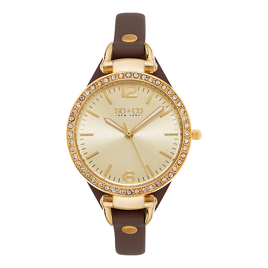 So Co Ny Womens Soho Ultra Thin Genuine Leather Strap With Gold Tone Dial Crystal Filled Bezel Quartz Watch J155p32