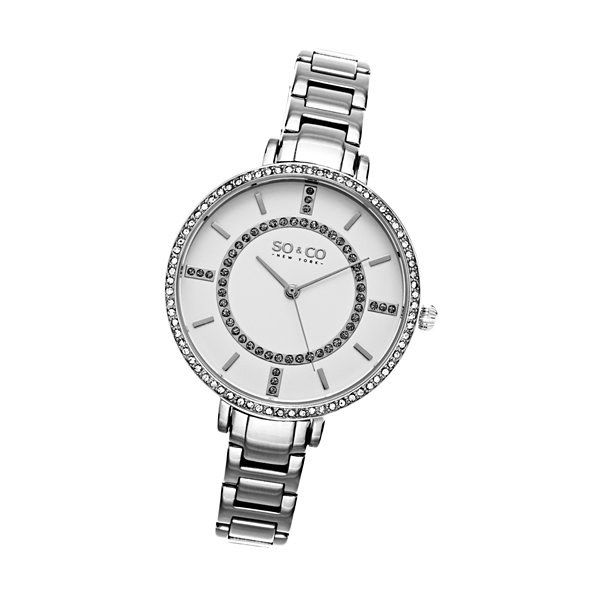SO & CO Ny Women's Soho Stainless Steel Thin Bracelet Crystal Filled Bezel Dress Quartz Watch J155P41