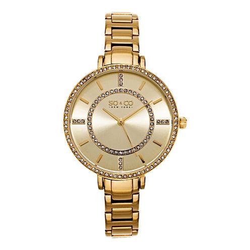 SO & CO Ny Women'S Soho Gold Stainless Steel Thin Bracelet Crystal Filled Bezel Dress Quartz Watch J155P43