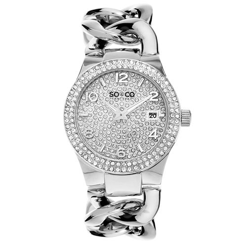 SO & CO Ny Women's Soho Chain Stainless Steel Bracelet Crystal Studded Dial And Bezel Dress Quartz Watch J155P61