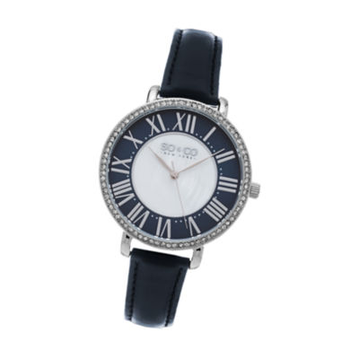 SO & CO Ny Women's Soho Navy Leather Strap White Mother Of Pearl Center Dial With Navy Tone Outer Dial Dress Quartz Watch J155P71