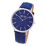 SO & CO Ny Unisex Soho Blue Denim Covered Genuine Leather Strap With Blue Denim Dial Casual Quartz Watch J154P33
