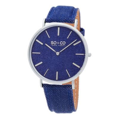 SO & CO Ny Unisex Soho Blue Denim Covered Genuine Leather Strap With Blue Denim Dial Casual Quartz Watch J154P33