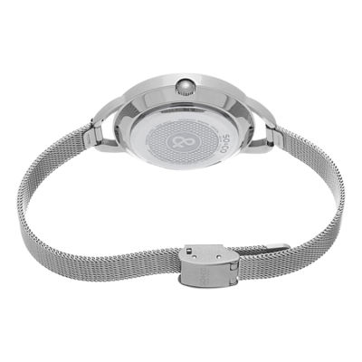 SO & CO Ny Women's Soho Stainless Steel Bracelet, Silver Tone Dial With Faceted Glass Dress Quartz Watch J157P90