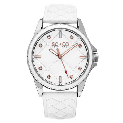 SO & CO Ny Women's Quilted Design Soho White Quilted Genuine Leather Strap And Blue Quilted Dial Casual Quartz Watch J159P03