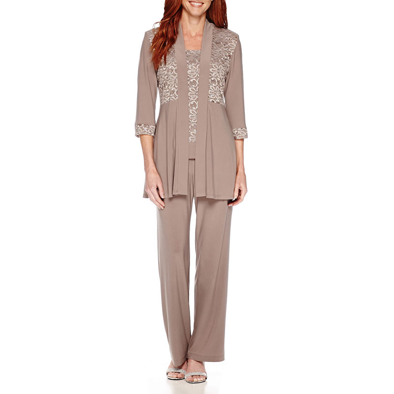R & M Richards Long-Sleeve Glitter Lace Jacket and Formal Pant Suit Set plus size,  plus size fashion plus size appare