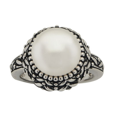 11.5-12Mm Cultured Freshwater Button Pearl Sterling Silver Ring