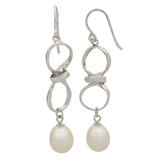 8.5-9.5Mm Cultured Freshwater Pearl Sterling Silver Infinity Earrings