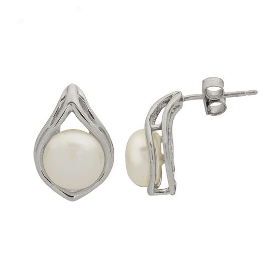 8-8.5Mm Cultured Freshwater Button Pearl Sterling Silver Earrings