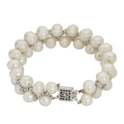 7-8Mm Cultured Freshwater Pearl Sterling Silver Bracelet