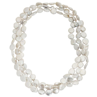 "64"" Cultured Freshwater Coin Pearl Sterling Silver Endless Strand Necklace"