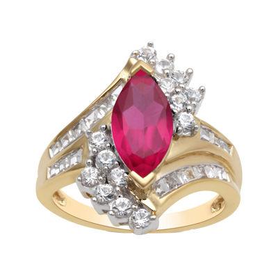 Lab Created Ruby & White Sapphire Ring In 14K Gold Over Silver