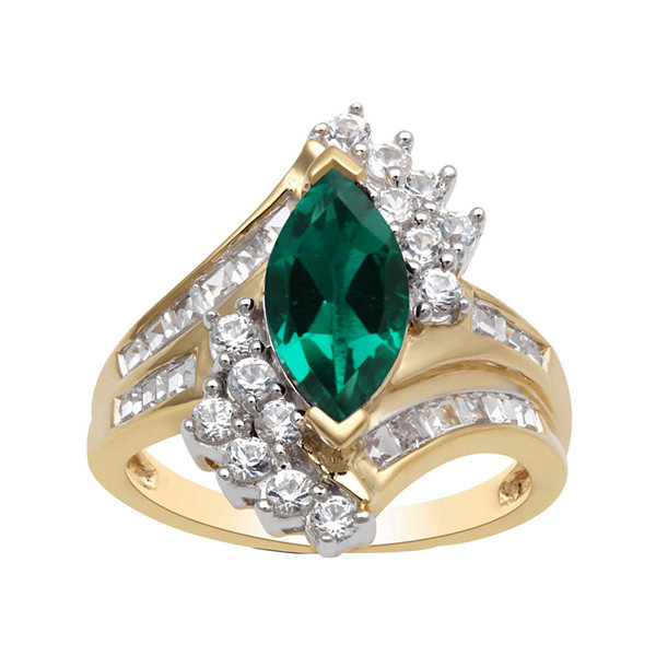 Lab Created Emerald & White Sapphire Ring In 14K Gold Over Silver