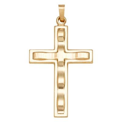 14K Yellow Gold Polished Textured Cross Charm Pendant