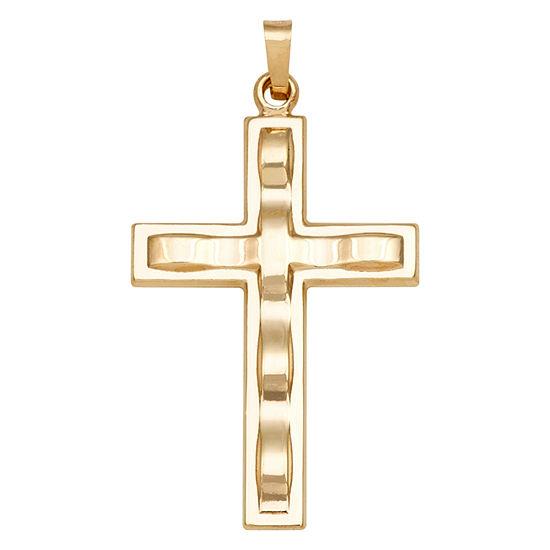 14K Yellow Gold Polished Textured Cross Charm Pendant