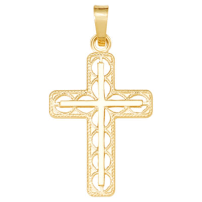 14K Yellow Gold Polished Open Latin Cross Charm Pendant