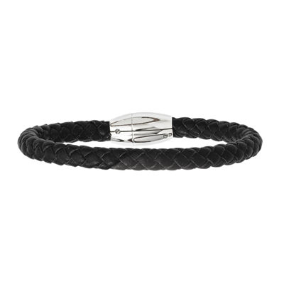 Mens Stainless Steel & Black Leather Bracelet