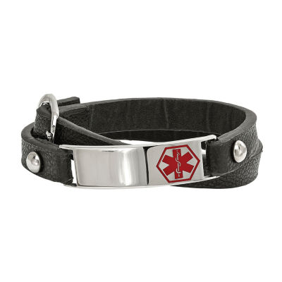 Mens Stainless Steel & Leather Medical Wrap Bracelet