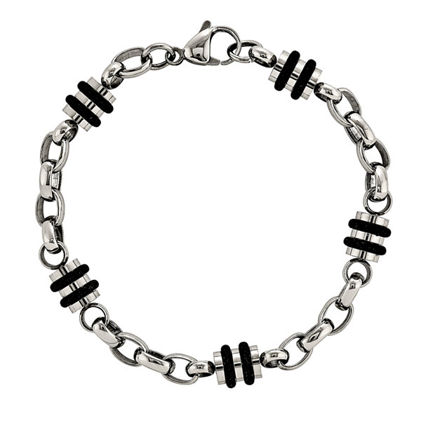 Mens Stainless Steel & Rubber Accent Chain Bracelet