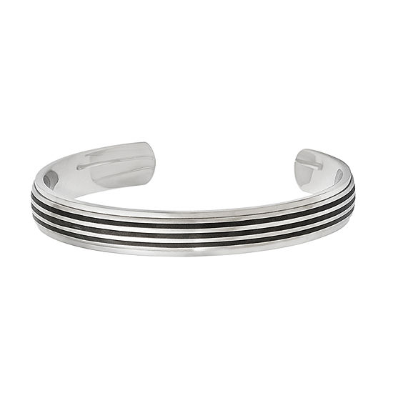 Mens Stainless Steel & Black Rubber Inlay Cuff Bracelet