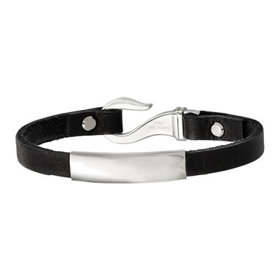 Mens Stainless Steel & Black Leather ID Bracelet