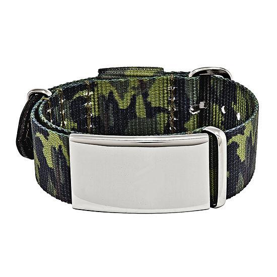 Mens Stainless Steel Green Camo Adjustable ID Bracelet