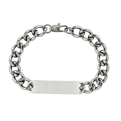 Mens Stainless Steel ID Chain Bracelet