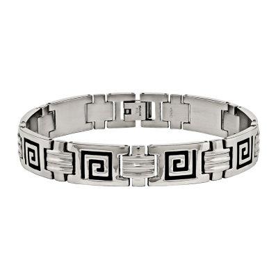Mens Stainless Steel & Black Enamel Link Bracelet