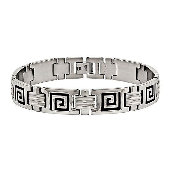 Mens Stainless Steel & Black Enamel Link Bracelet