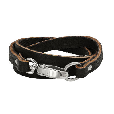 Mens Stainless Steel & Black Leather Wrap Bracelet