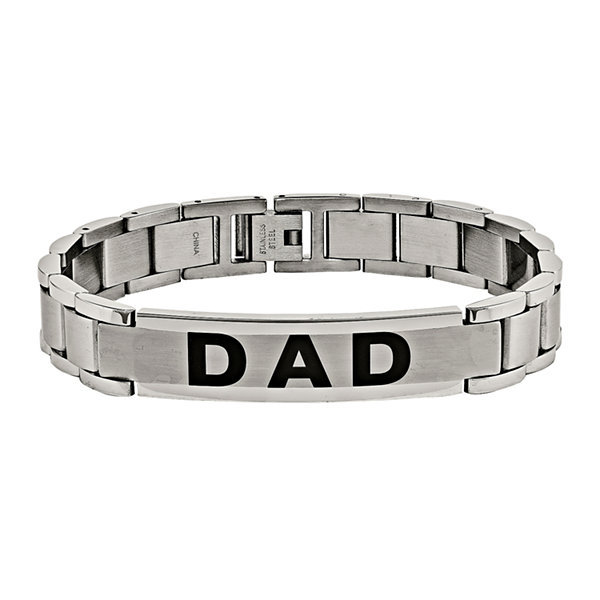 "Mens Stainless Steel ""Dad"" Link Bracelet"