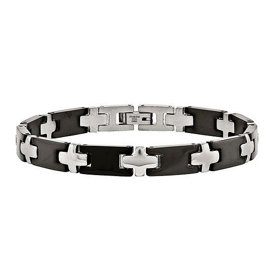 Mens Stainless Steel Black Ion-Plated Cross Link Bracelet
