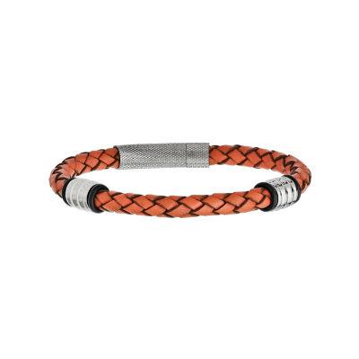 Mens Stainless Steel Orange Leather Bracelet