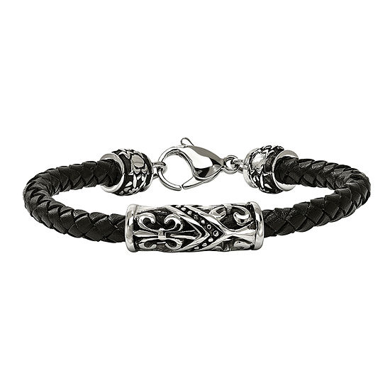 Mens Stainless Steel Black Leather Antiqued Fleur De Lis Bracelet