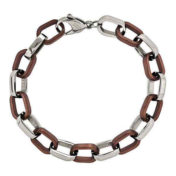 Mens Stainless Steel Brown Ion-Plated Chain Bracelet