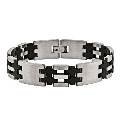 Mens Stainless Steel & Black Rubber Bracelet