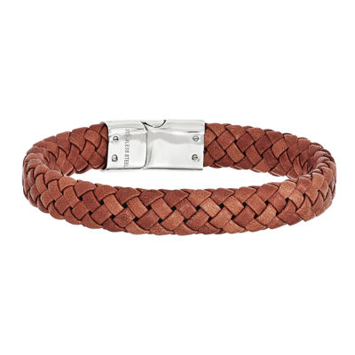 Mens Stainless Steel & Brown Leather Bracelet