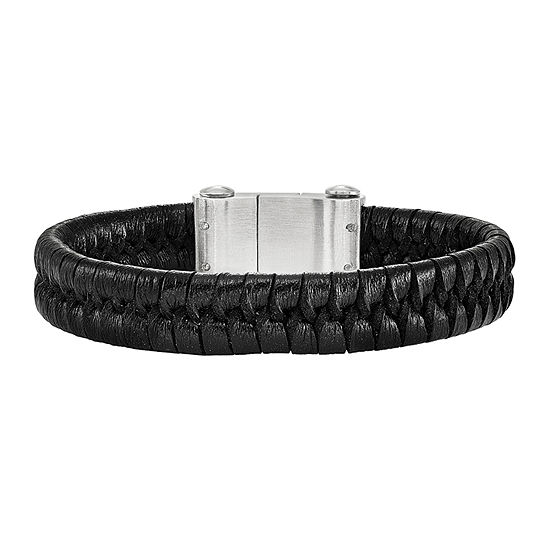 Mens Stainless Steel Black Leather Bracelet