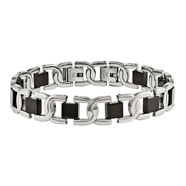 Mens Stainless Steel Black Ion-Plated Link Bracelet