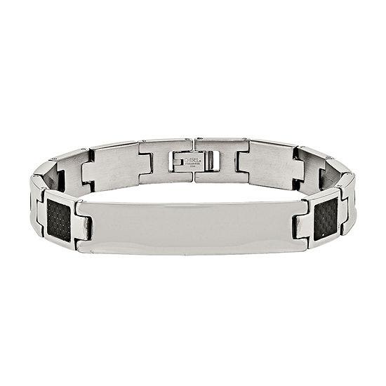 Mens Stainless Steel & Black Carbon Fiber Link Bracelet