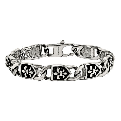 Mens Stainless Steel Antiqued Fleur De Lis Chain Bracelet