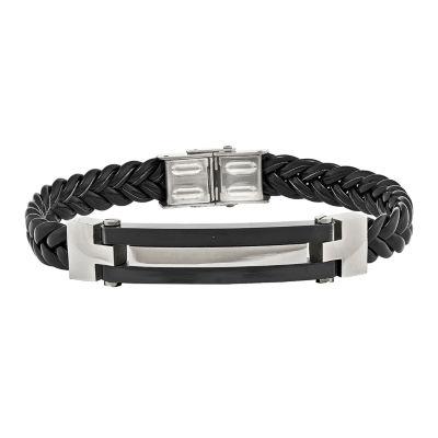 Mens Stainless Steel Black Ion-Plated & Black Leather Bracelet