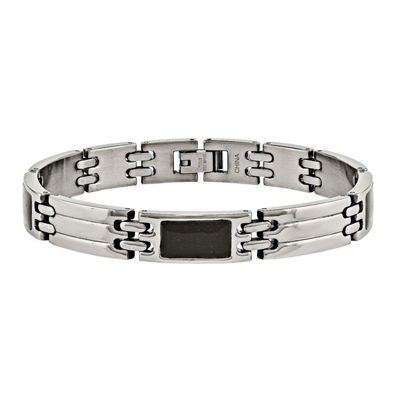 Mens Stainless Steel & Black Carbon Fiber Chain Bracelet